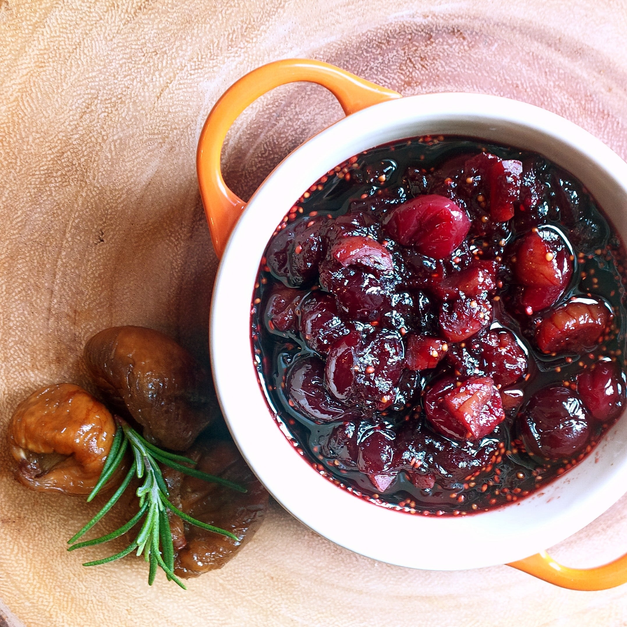 Cranberry sauce with dried figs in the plate