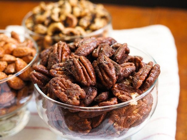 pecan nuts in a glass dish