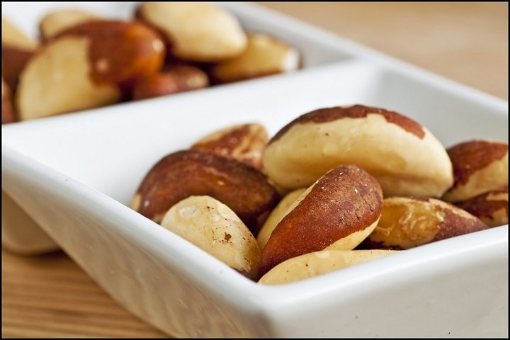 Brazilian nuts lying in the white plate