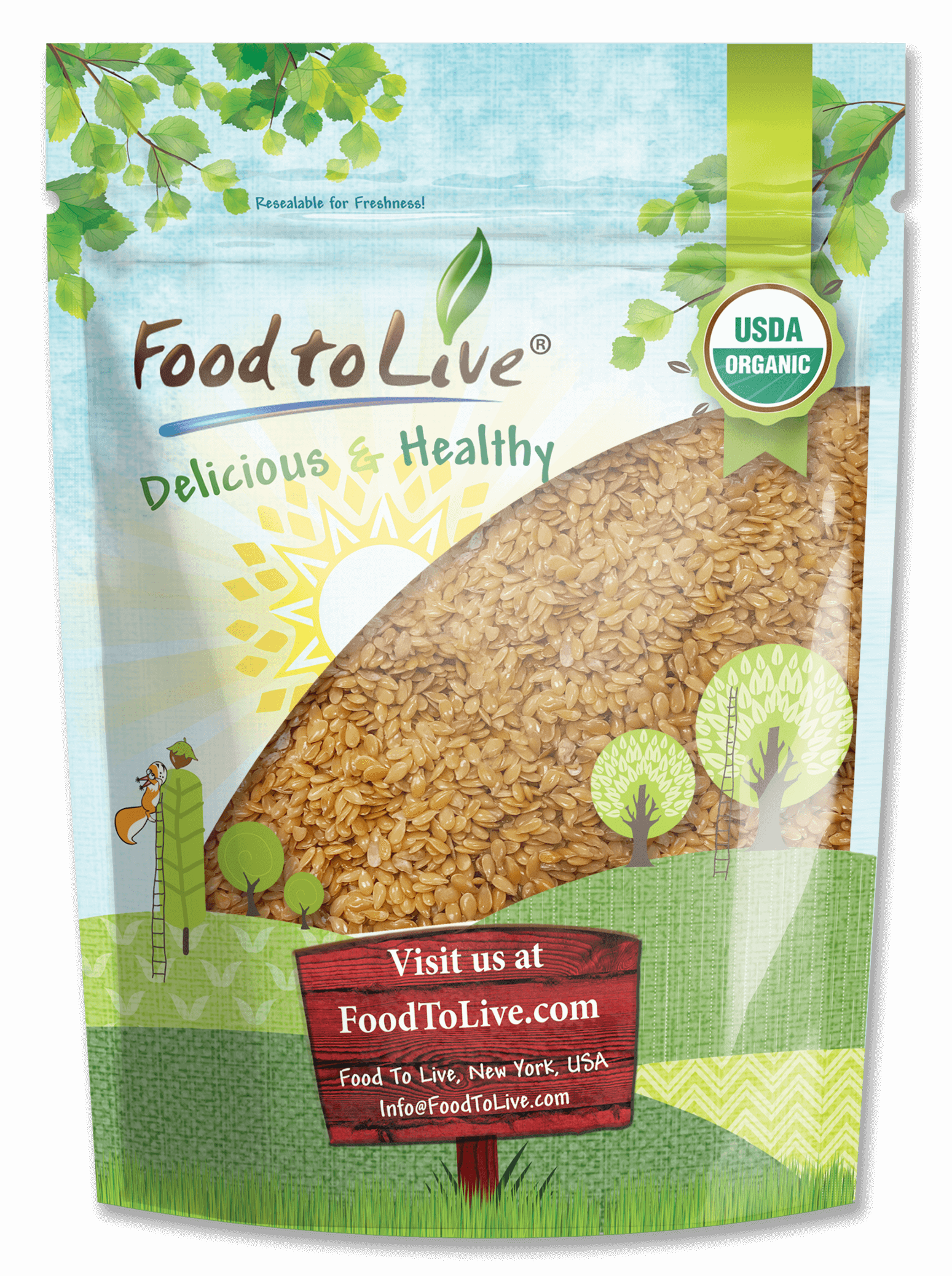 Organic Whole Golden Flaxseed Small Bag