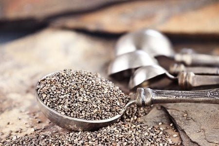 Chia seeds in a tablespoon