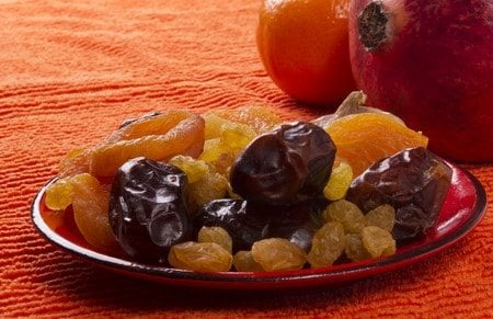 tasty dried fruits on a plate