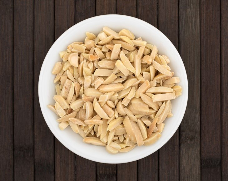 Organic Blanched Almonds in Plate